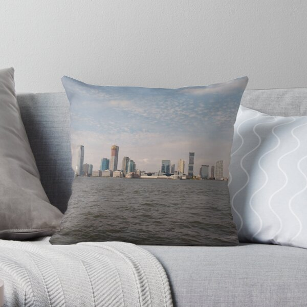 #skyline, #city, #water, #buildings, #urban, #sky, #architecture, #cityscape, #building, #skyscraper, #newyork, #downtown, #manhattan, #blue, #panorama, #river, #view, #usa, #skyscrapers Throw Pillow