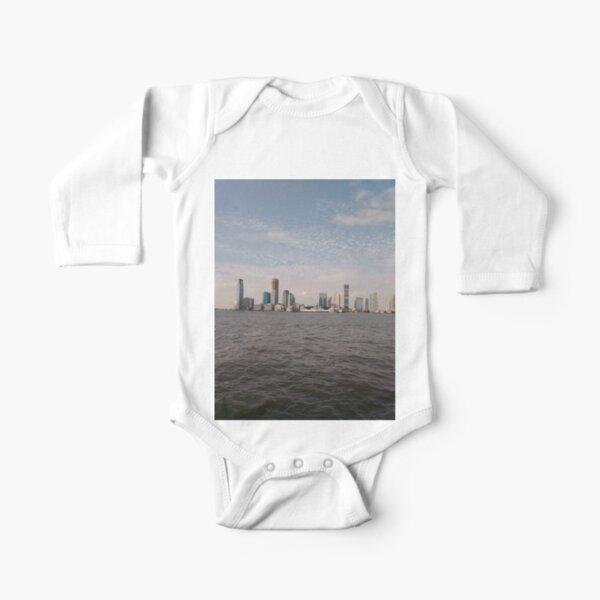 #skyline, #city, #water, #buildings, #urban, #sky, #architecture, #cityscape, #building, #skyscraper, #newyork, #downtown, #manhattan, #blue, #panorama, #river, #view, #usa, #skyscrapers Long Sleeve Baby One-Piece