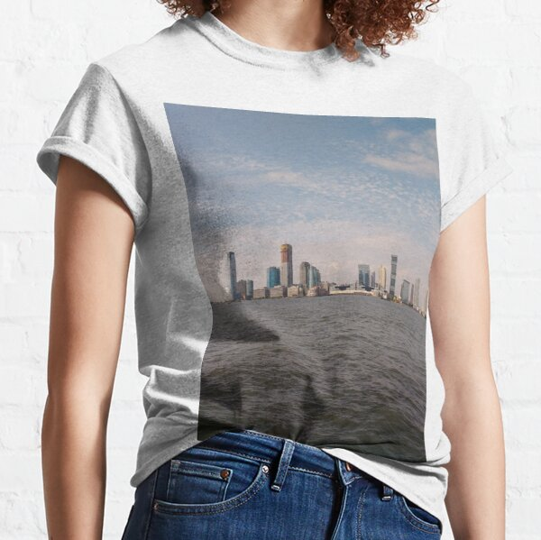 #skyline, #city, #water, #buildings, #urban, #sky, #architecture, #cityscape, #building, #skyscraper, #newyork, #downtown, #manhattan, #blue, #panorama, #river, #view, #usa, #skyscrapers Classic T-Shirt