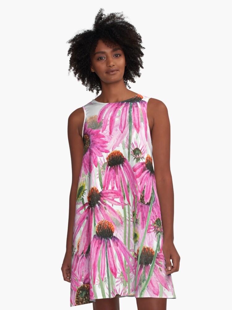 pink purple coneflower field watercolor   A-Line Dress Front