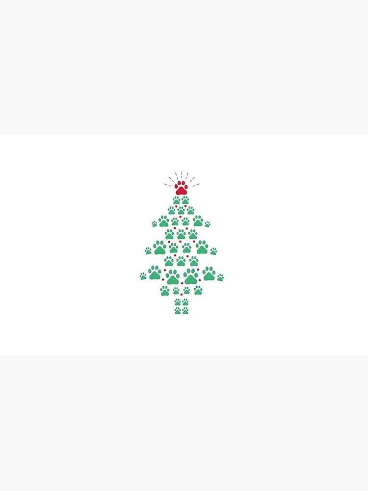 Super Cute Dog Paws Print Christmas Tree T-Shirt by Dogvills