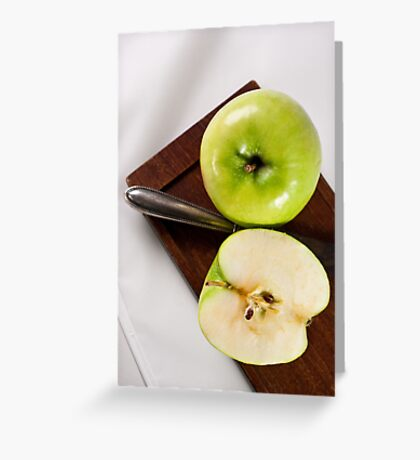 Green Apple and Knife Greeting Card