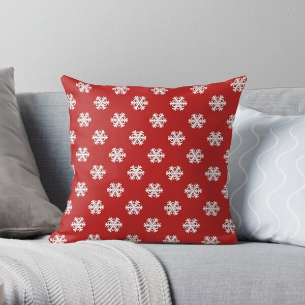 Snowflake Flurry - red Throw Pillow