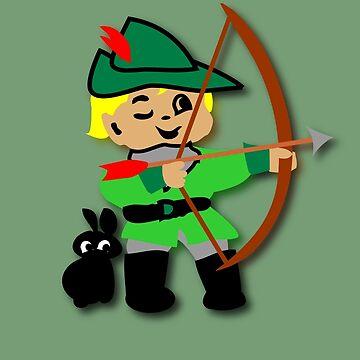 Kid Billy retro featuring Robin Hood Tee by patjila