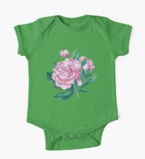 Watercolor Peony Bouquet One Piece - Short Sleeve