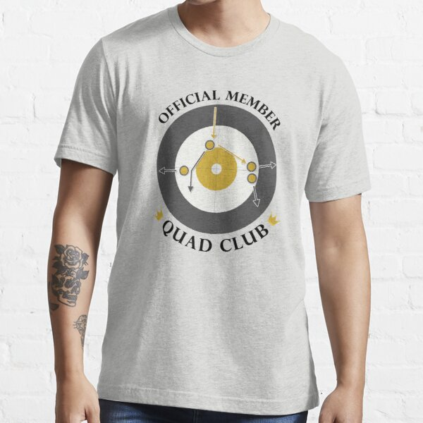"""The """"Quad Club"""" - Black Text Essential T-Shirt"""
