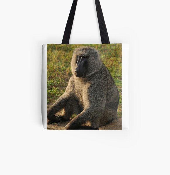 South African Baboon Sunning All Over Print Tote Bag
