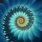 Mystical Gold and Blue Spiral by Kelly Dietrich