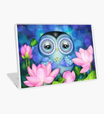 Owl in Lotus Pond Laptop Skin