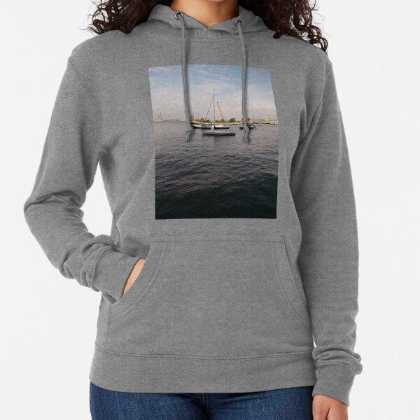 #boat, #yacht, #water, #boats, #ship, #marina, #sky, #harbor, #port, #sailboat, #sailing, #blue, #harbour, #sail, #vessel, #nautical, #travel, #summer, #yachts, #dock, #coast, #pier Lightweight Hoodie