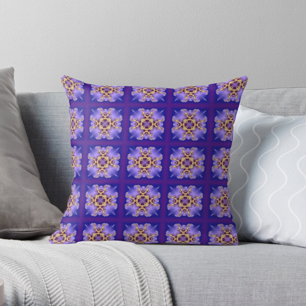 Kaleidoscopic Purple Pattern Throw Pillow