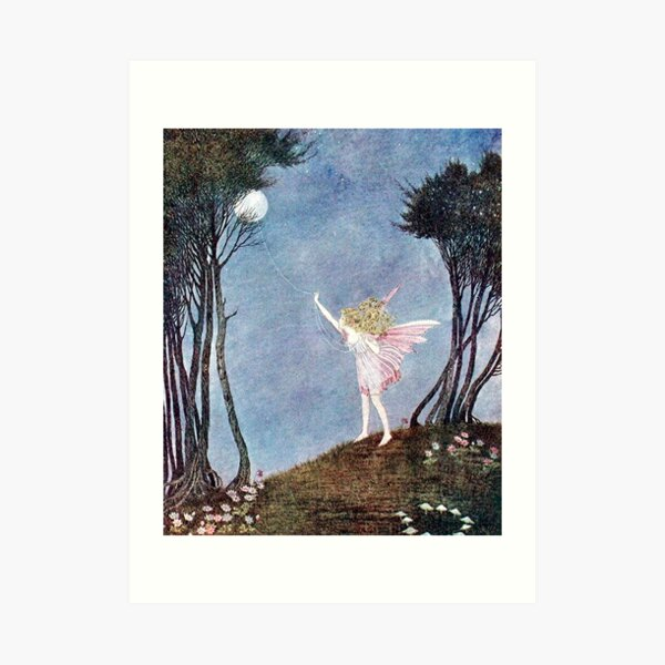 Catching the Moon on a rope of dewdrops - Fairyland - Ida Rentoul Outhwaite Art Print