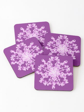 Abstract flower in lilac Coasters