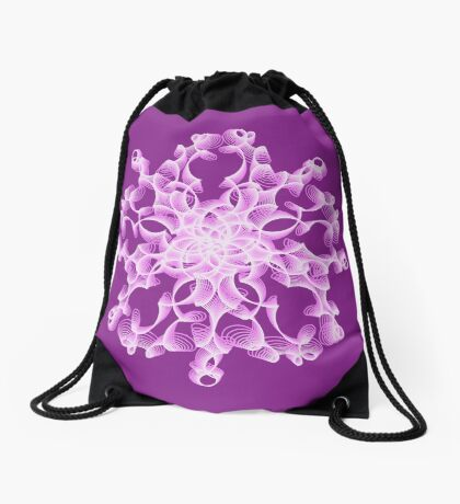 Abstract flower in lilac Drawstring Bag