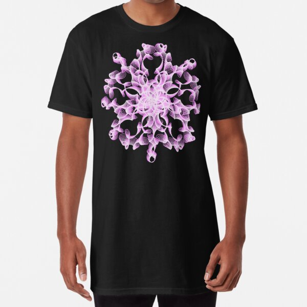 Abstract Flower in Lilac and Black Long T-Shirt