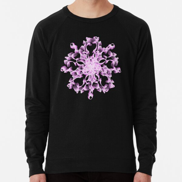 Abstract Flower in Lilac and Black Lightweight Sweatshirt