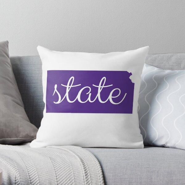 K State Shirt: Kansas State Wildcats Fan Outline Logo Throw Pillow