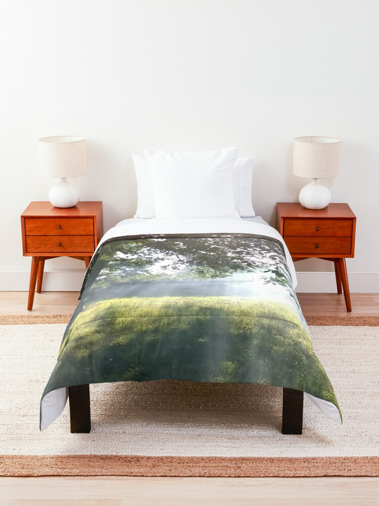 Alternate view of M.I. #12 |☼| Smoky Tree Sun Rays - Portrait Shot (Pearson Park) Comforter
