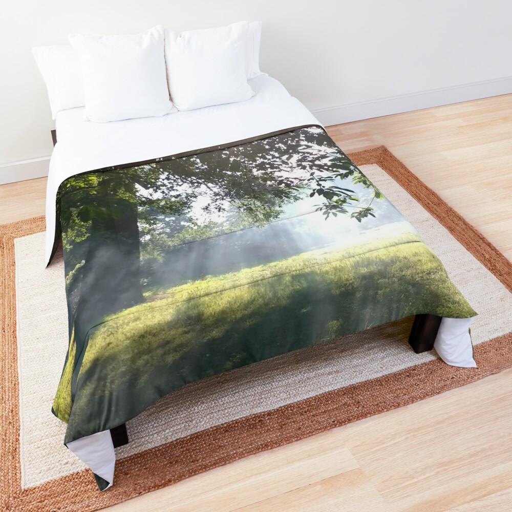 M.I. #12 |☼| Smoky Tree Sun Rays - Portrait Shot (Pearson Park) Comforter