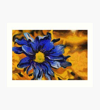 Blue Flower Abstract Art Print