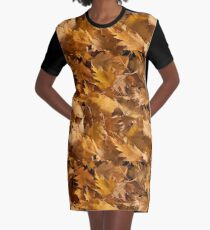 Golden Birch Leaves  Graphic T-Shirt Dress