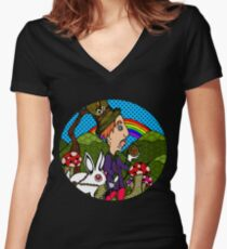 Mad Hatter & Rabbit Women's Fitted V-Neck T-Shirt