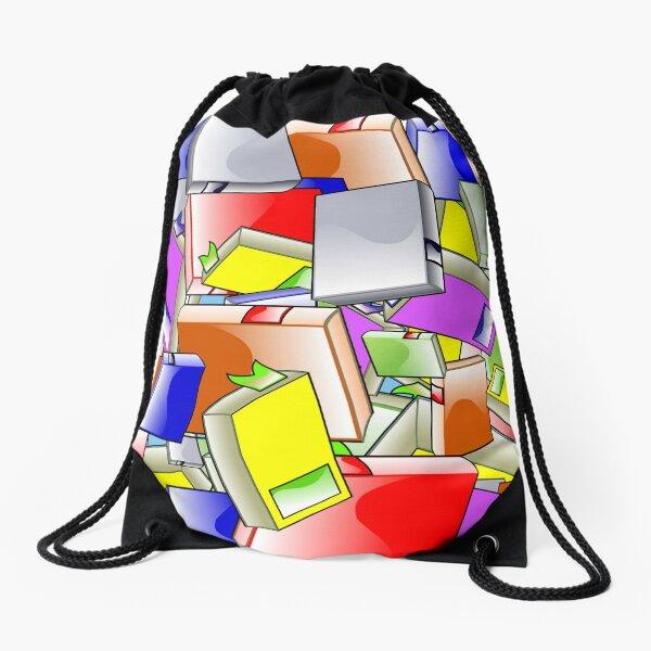 Colorful Illustrated Books Drawstring Bag