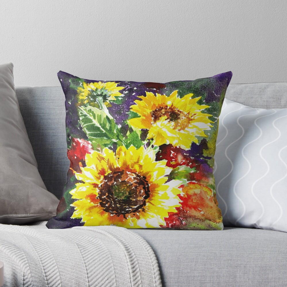 Impressionistic Sunflowers Throw Pillow