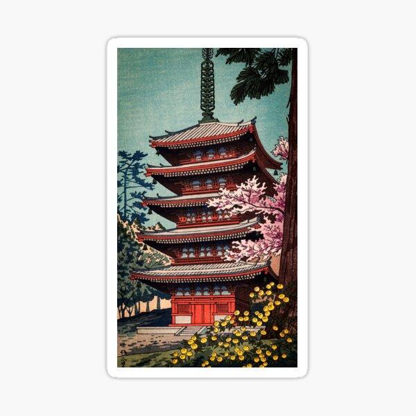 Asano Takeji Traditional Japanese Ukiyo-E Pagoda Print Sticker