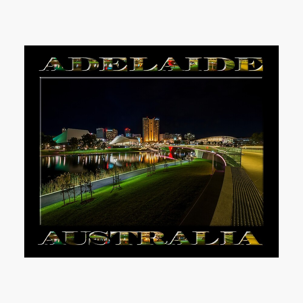 Adelaide Riverbank at Night III (poster on black) Photographic Print