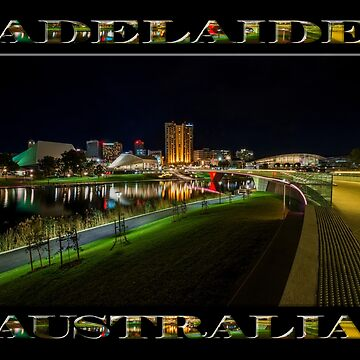 Adelaide Riverbank at Night III (poster on black) by RayW