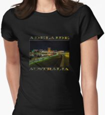 Adelaide Riverbank at Night III (poster on black) Women's Fitted T-Shirt