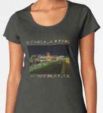 Adelaide Riverbank at Night III (poster on black) Women's Premium T-Shirt