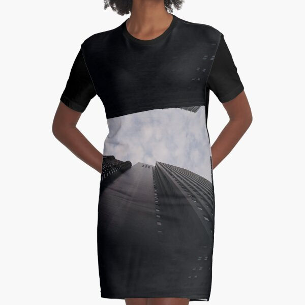 #building, #sky, #architecture, #skyscraper, #city, #office, #business, #urban, #downtown, #blue, #tower, #tall, #construction, #buildings, #glass, #skyscrapers, #high, #cloud, #clouds, #window Graphic T-Shirt Dress