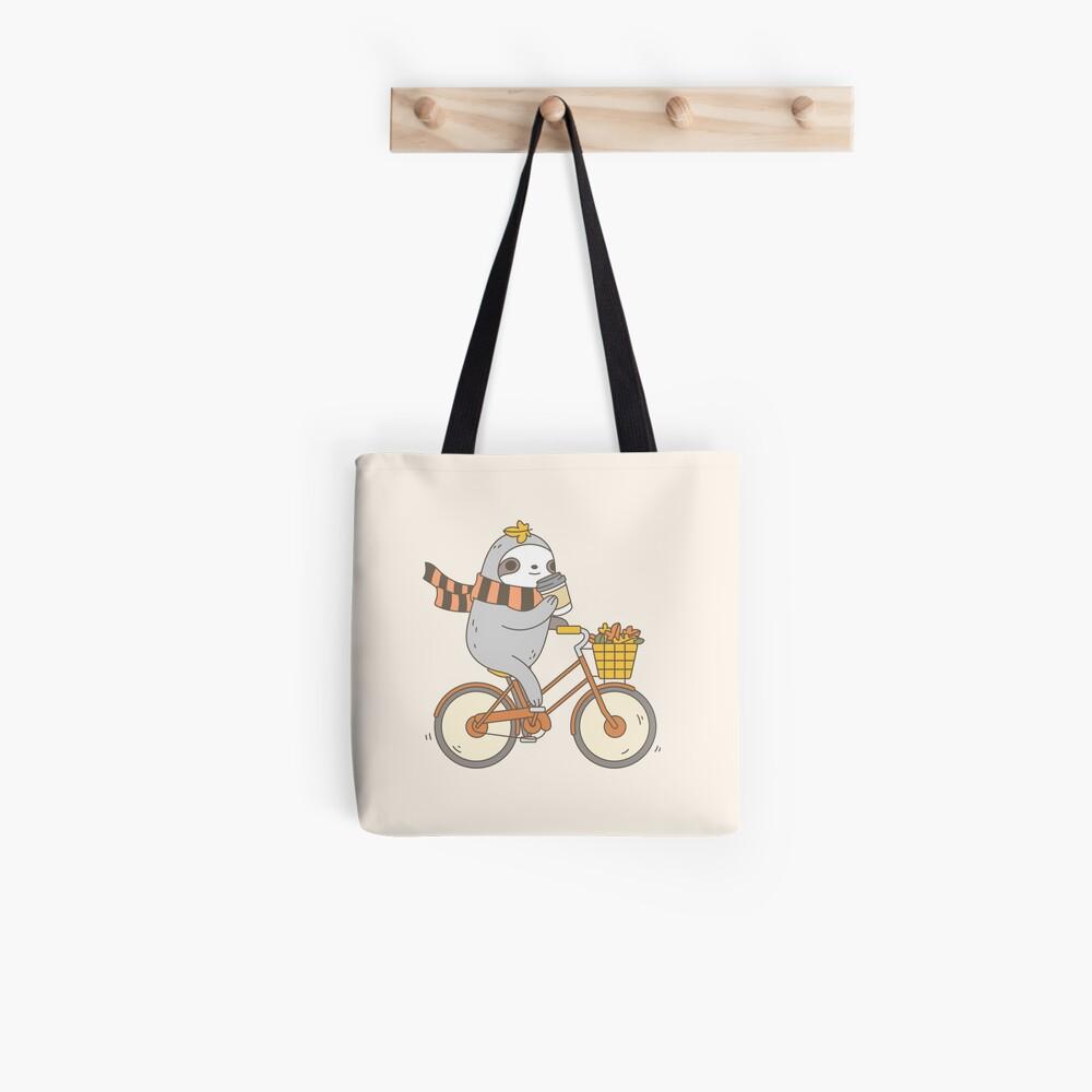 Fall Biking Sloth  Tote Bag