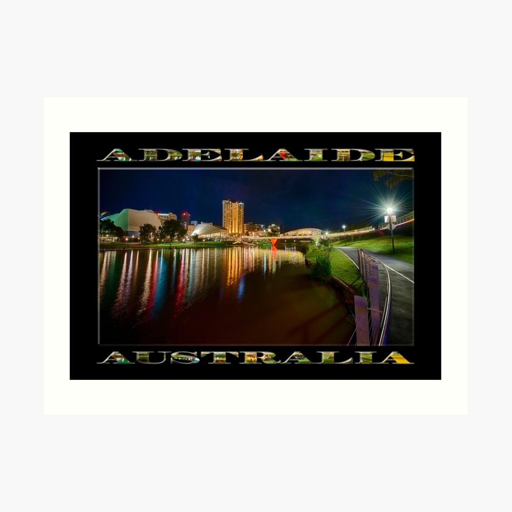 Adelaide Riverbank at Night VI (poster on black) Art Print