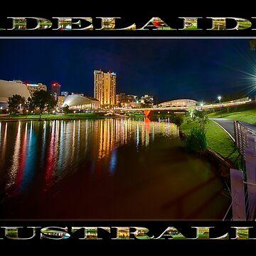 Adelaide Riverbank at Night VI (poster on black) by RayW