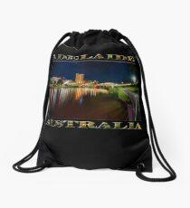 Adelaide Riverbank at Night VI (poster on black) Drawstring Bag