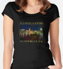 Adelaide Riverbank at Night VI (poster on black) Women's Fitted Scoop T-Shirt