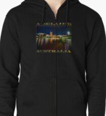 Adelaide Riverbank at Night VI (poster on black) Zipped Hoodie