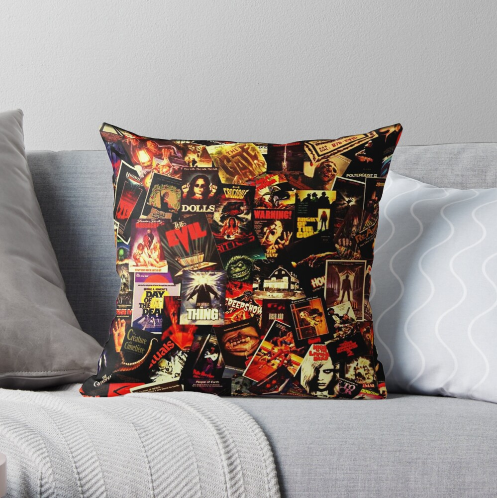 Horror Movies Collage Throw Pillow