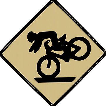 Funny Tumbling Bike Warning Sign by joehx