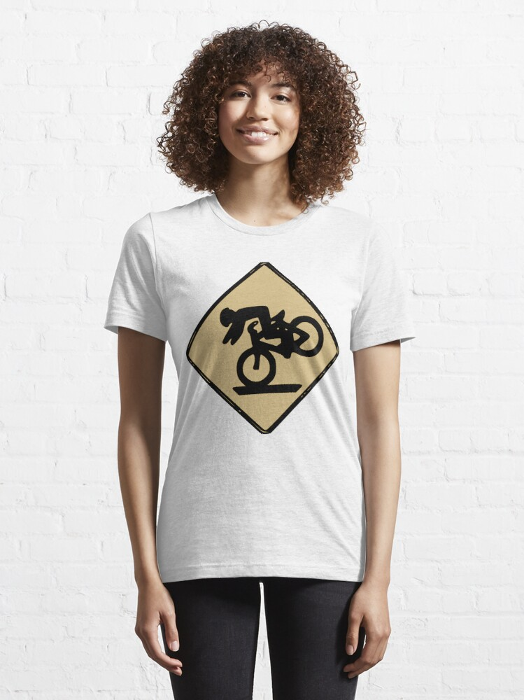 Alternate view of Funny Tumbling Bike Warning Sign Essential T-Shirt