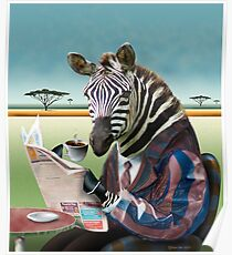 Zebra Morning Poster