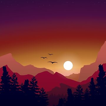 Sunset over the Mountains  by EthanDecker