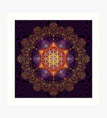 Flower of Life Golden Lace Mandala Art Print