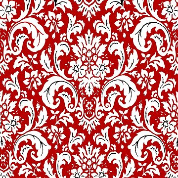 Red and White Paisley Vintage Pattern by Overthetopsm