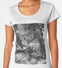black white gray paint in monotype technique, abstract texture Imitation marble, granite.  Women's Premium T-Shirt