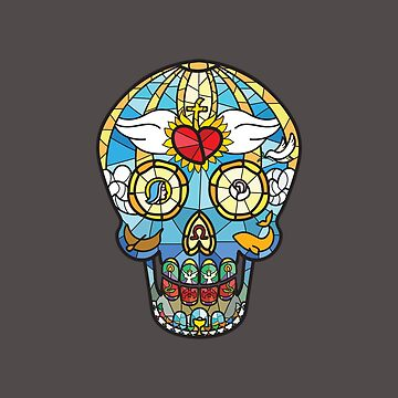 Mexican Calavera Skull in stained glass theme by EyeSeeMS