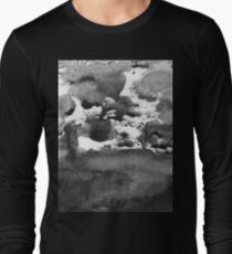 black white paint in monotype technique, abstract texture Imitation marble, granite Long Sleeve T-Shirt